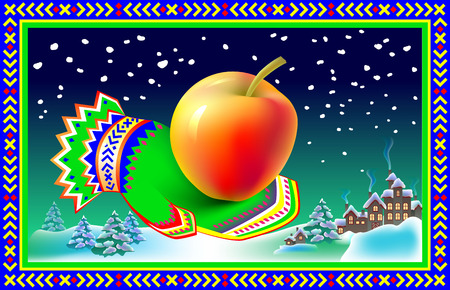 mitten: Winter greeting card with mitten and apple, cartoon image.
