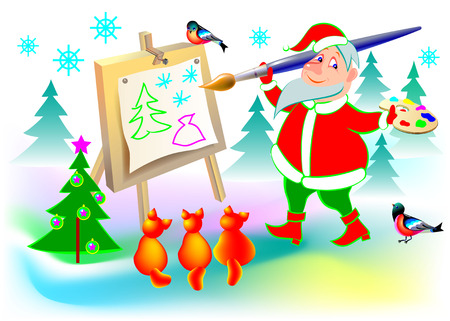 Illustration of funny Santa Claus painting a picture, cartoon image.