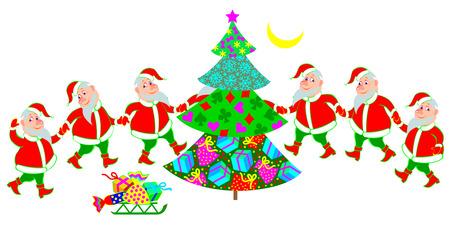 Illustration of funny Santa Claus dancing around Christmas tree, cartoon image.