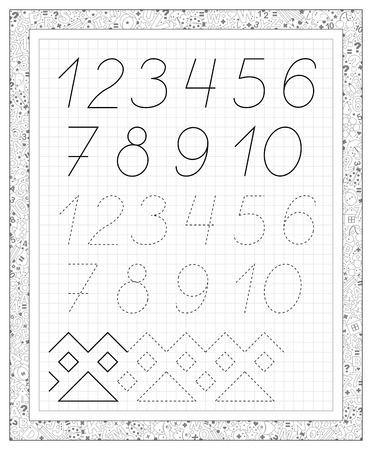 Schwarz-Weiß-Arbeitsblatt Auf Einem Quadratischen Papier Mit Zahlen ...