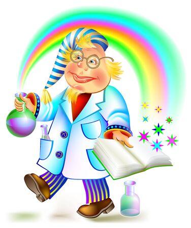 alchemist: Illustration of alchemist holding bulb and book, cartoon image.