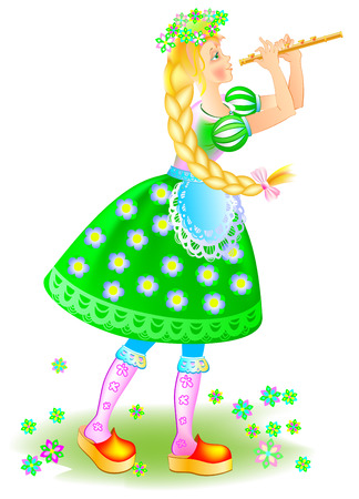 Illustration of girl playing the pipe in the spring, cartoon image. Illustration