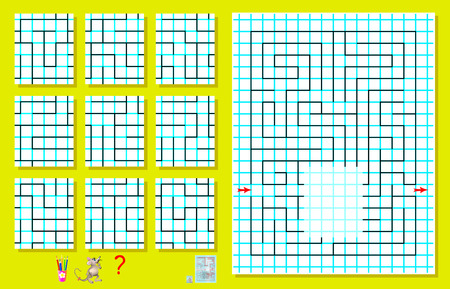 different ways: Logic puzzle with labyrinth on a square paper. Need to find the only one correct piece and draw it so to pass the way from beginning to end. image.