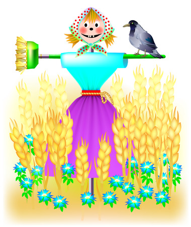 Illustration of fantasy landscape with scarecrow in a wheat field. cartoon image.