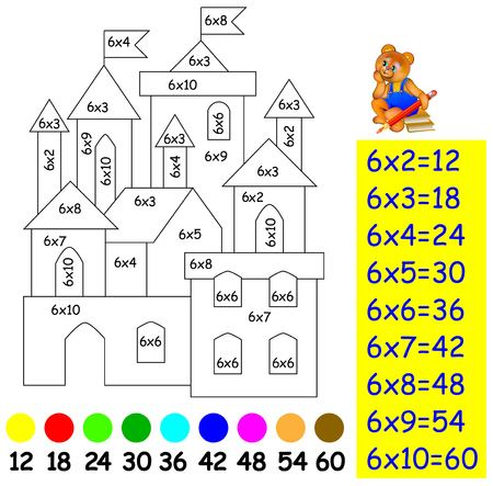 Exercise for children with multiplication by six. Need to paint image in relevant color. Developing skills for counting and multiplication. image.
