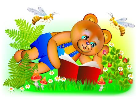 Illustration of happy teddy bear reading a book, vector cartoon image. Illustration