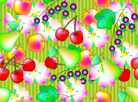 rich in vitamins: Seamless pattern of different fruits, vector cartoon image. Illustration