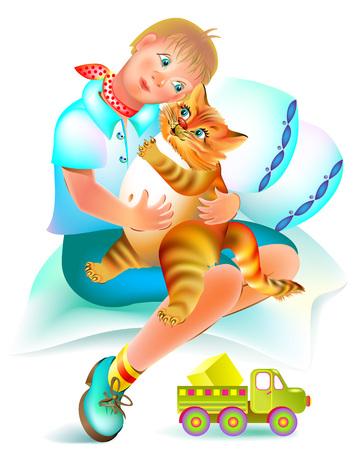 Illustration zum Märchen für Kinder. Gute rote Katze behandelt den kranken Jungen. Vektor-Cartoon-Bild.