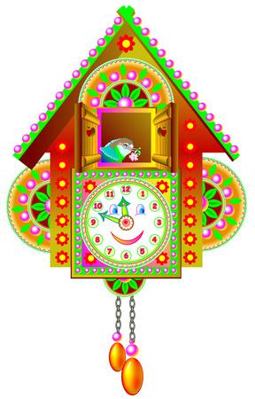 Illustration of colorful toy cuckoo clock. Vector cartoon image.