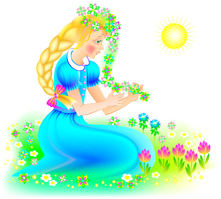 Illustration of beautiful girl weaving a wreath of flowers in the spring. Vector cartoon image.