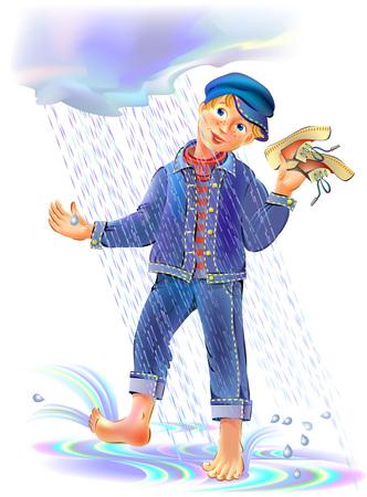 Illustration of funny boy playing under the rain, vector cartoon image. Illustration
