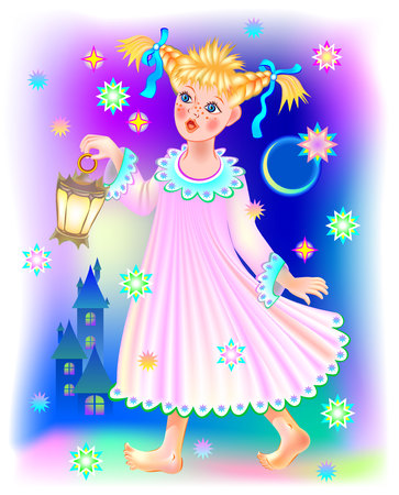 Illustration of little girl walking and dreaming at night, vector cartoon image.