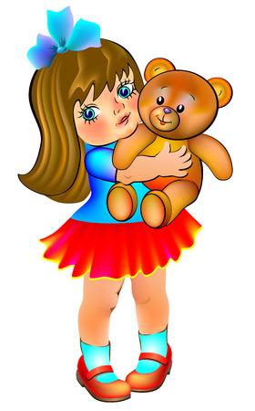 Illustration of little girl holding teddy bear, vector cartoon image. Illustration