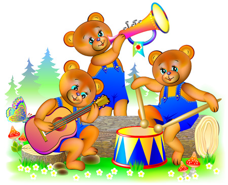 Illustration of three little teddy bears playing musical instruments in the orchestra. Vector cartoon image.