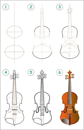 Page shows how to learn step by step to draw a violin. Vector image. Illustration
