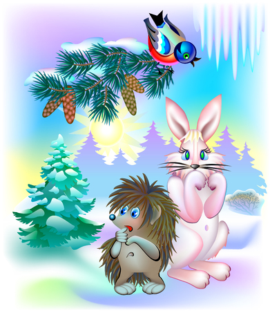 Illustration of animals waiting for spring during winter, vector cartoon image. Illustration