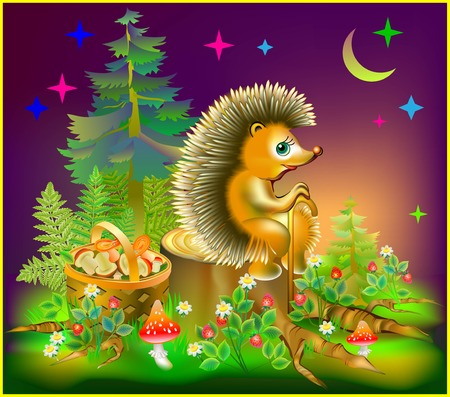 Illustration of hedgehog sitting on stump in a forest during the nighttime, vector cartoon image.