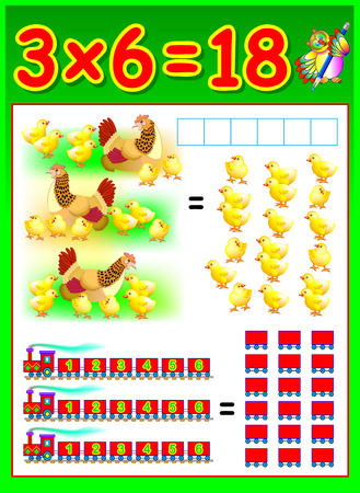 multiplication: Educational page for children with multiplication. Vector image.