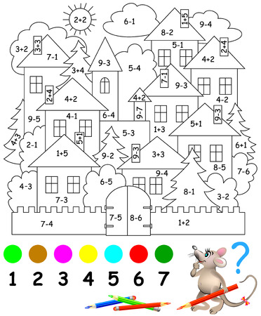 Educational page with exercises for children on addition and subtraction. Need to solve examples and to paint the image in relevant colors. Developing skills for counting. Vector image. Vettoriali