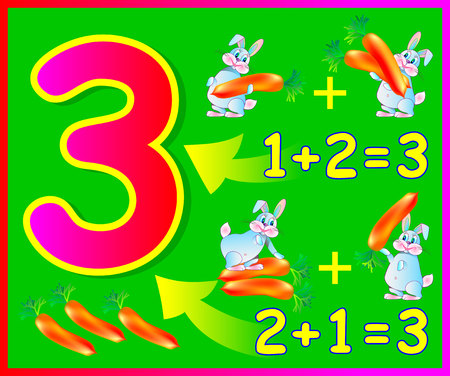 arithmetic: Educational page for children with compositions of number 3. Developing skills for counting. Vector image.