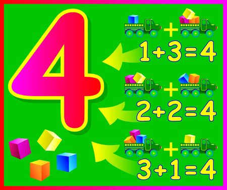 Educational page for children with compositions of number 4. Developing skills for counting. Vector image.