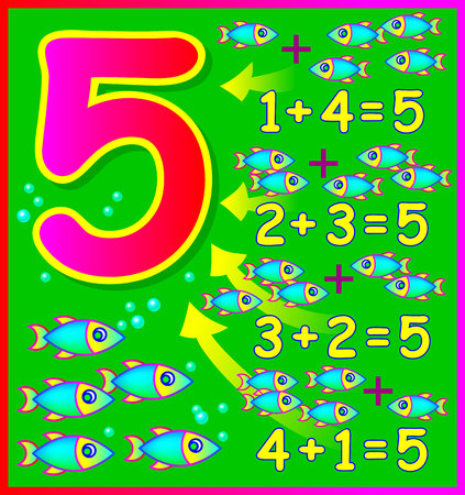 arithmetic: Educational page for children with compositions of number 5. Developing skills for counting. Vector image.