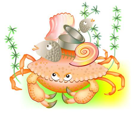 Illustration of old crab guarding his stuff. Vector cartoon image.