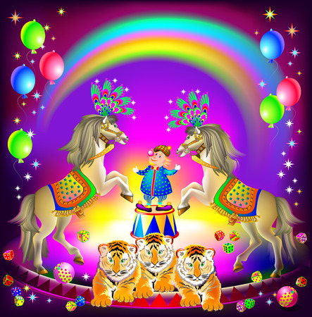 Poster for a circus performance. Merry clown on arena with trained animals. Vector cartoon image. Illusztráció