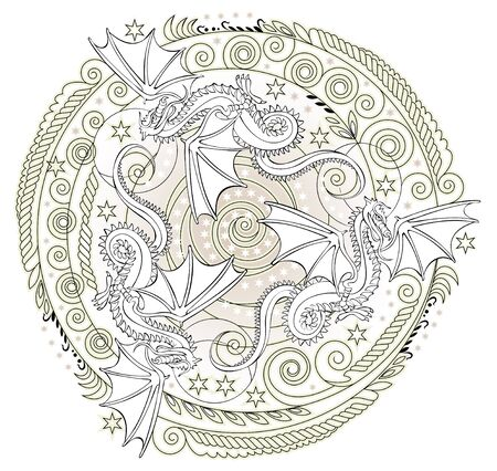 Fantasy medieval ornament with dragons, white and black vector image.
