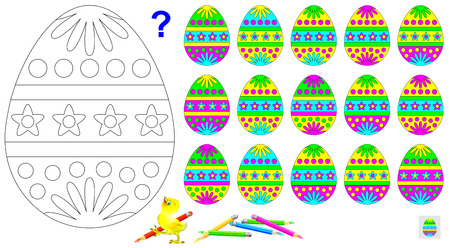 Logic puzzle for children. Need to find the only one unpaired egg and paint black and white drawing in corresponding colors. Vector cartoon image.