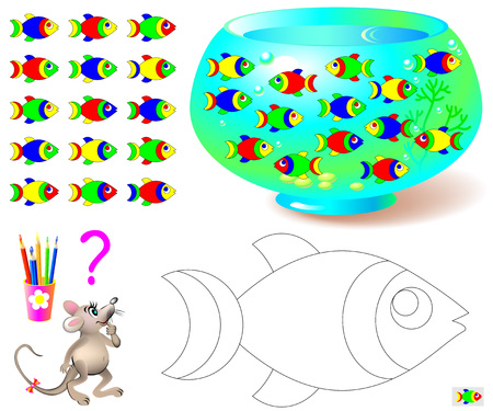 Coloring page with logic puzzle for children. Need to find the only one fish missing in aquarium and paint black and white drawing in corresponding colors. Vector cartoon image. Stock fotó - 70458105