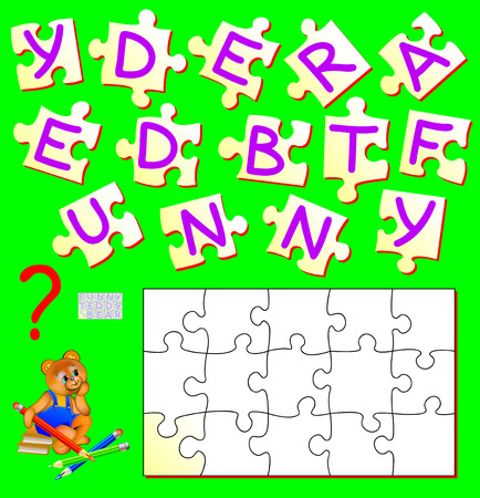 Logic puzzle game for study English. Need to find the correct place for each piece and to write the letters in empty places. Vector cartoon image.