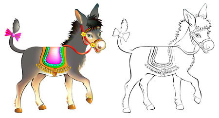Colorful and black and white pattern donkey, vector cartoon image.