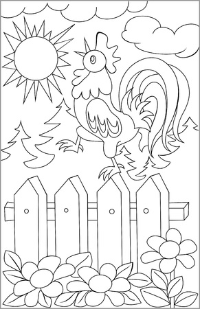 rooster at dawn: Page with black and white drawing of rooster for coloring. Developing children skills for drawing. Vector image.