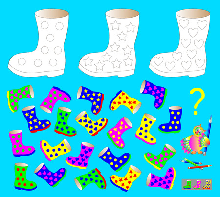 Coloring page with logic puzzle for children. Need to find three unpaired boots and paint black and white drawing in corresponding colors. Vector cartoon image.