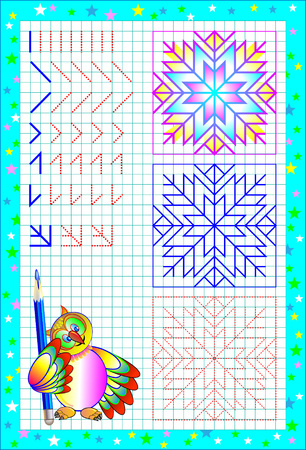 Page with exercises for young children on a square paper. Developing skills for counting and writing. Vector image.