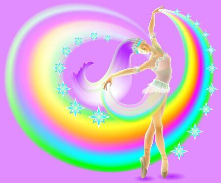 Illustration of dancing ballerina, vector cartoon image.