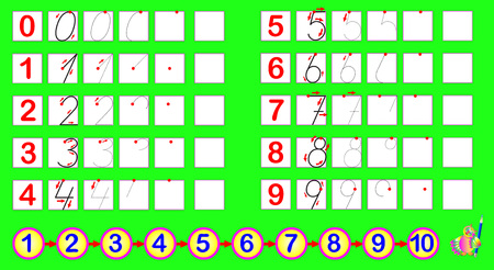 according: Exercises for young children. Need to draw the numbers according to the sample. Developing skills for counting and writing. Vector cartoon image. Illustration