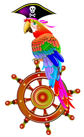 Illustration of funny parrot siting on the steering wheel in a pirate hat, vector cartoon image. Illustration