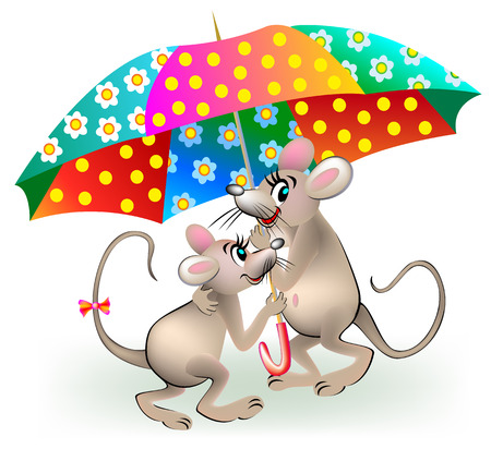 Illustration of couple of mice holding umbrella, vector cartoon image. Illustration