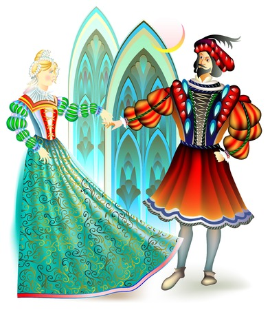 Illustration of men and women dressed in the costumes of 16th century in France, vector cartoon image. Illustration