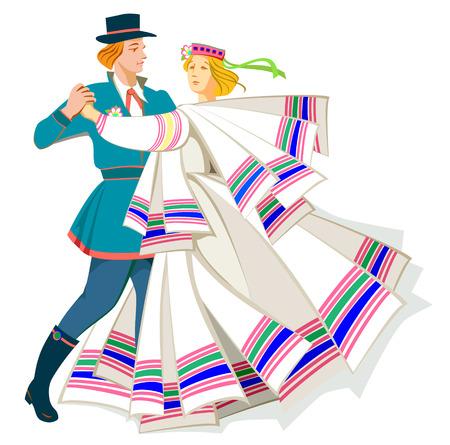 Card with couple dancing Baltic folk dance, vector cartoon image. Illustration
