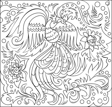 Black and white fantasy ornament with fairyland bird for coloring. Illustration