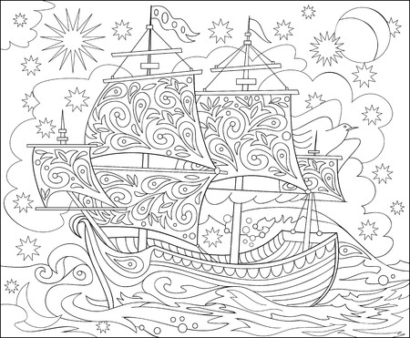 Pencil illustration of fantasy fairyland ship for coloring.