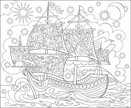 Ilustración De Una Hoja Para Colorear (barco) Ilustraciones ...