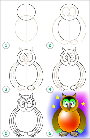Page shows how to learn step by step to draw an owl. Developing children skills for drawing and coloring. Vector image. 向量圖像