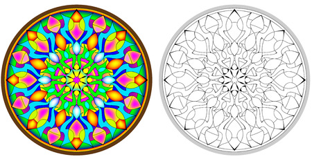 Colorful and black and white pattern of Gothic rose window, vector cartoon image.
