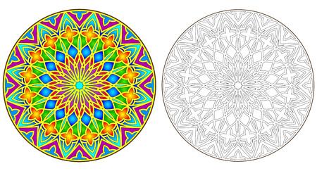 patrón de colores y blanco y negro del gótico imagen vectorial rosetón,.