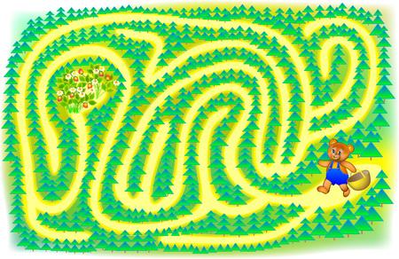 Ejercicio para niños Ayuda a un pequeño oso a encontrar las bayas: dibuja una pista. Desarrollo de habilidades para escribir y dibujar. Imagen vectorial Ilustración de vector