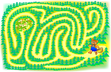 lesson: Exercise for children. Help a little bear find the berries - draw a track. Developing skills for writing and drawing. Vector image.